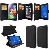 BLACK COLOUR WALLET FLIP PU LEATHER CASE COVER FOR iPhone SAMSUNG SONY