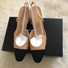 NIB 2016 CHANEL Two-Tone Beige Black Leather Slingbacks Shoes Pump size 38