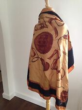 FENDI Huge Silk Janus Two-Faced God Hand Made/Rolled Silk Scarf Vintage Rare