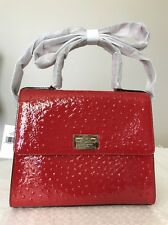 Nwt Kate Spade New York Red Ostrich Leather Knightsbridge Doris Satchel Bag 4028