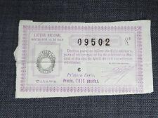 ESPAGNE MADRID ancien billet de la loterie Nationale  1928