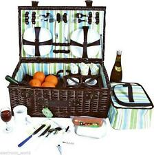 Luxury Dark Brown Classic 4 Person English Wicker Willow Picnic Basket Hamper