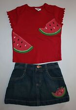 New Gymboree 2 Piece Outfit Applique Top & Skirt Set 12-18mNWT Watermelon Summer