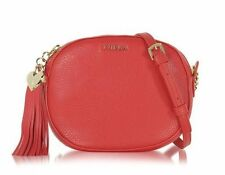 NWT $278 Furla Cuore L Hammered Red/Rosso Leather Crossbody Bag Heart Tassel