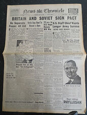WW2 Newspaper July 14 1941 News Chronicle Britain Soviet Pact RAF Bremen Wartime