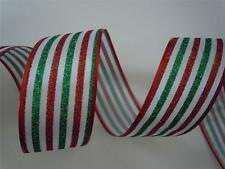 5yds Glittering Red Green Stripes Christmas Decor Winter Wedding Wired Ribbon