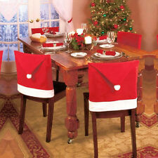 1pc Santa Hat Chair Covers Christmas Decor Dinner Chair Xmas Cap Sets Red Cover