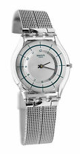 Swatch skin SFE109M Sky Net all silver Steel mesh band THIN  Unisex Watch New