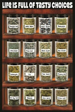 Marijuana LAMINATED POSTER Strains Cannabis Weed Buds Haze Kush Skunk Tasty NEW