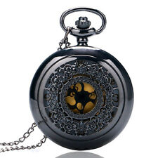 Antique Style Hollow Black Quartz Pocket Watch Necklace Pendant Women Men Gifts