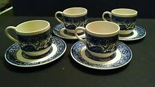 Set of 4 Blue Willow Pattern Stackable Tea Cup/Mugs with Saucers, Marked USA