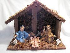Nativity Set - Holy Family, Cow, Donkey & 2 Sheep Creche Crib Krippen Presepe