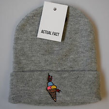 Actual Fact GELATO GUCCI Mane Hip Hop Beanie Inverno Roll Up Grigio Wooly Hat