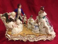 Rare Dresden Muller Volkstedt Porcelain Group Figurine Grandmother's Birthday