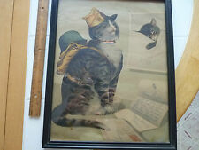 Chessie Peake Cat WW 11 Full Color Framed Drawing