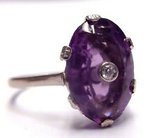 Antique Art Deco Inlaid Amethyst and Diamond 18K White Gold Ring Size 7.5