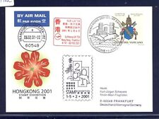 54962) LH SF Hongkong - Frankfurt 6.2.2001, Karte Vatikan