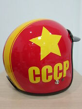 Vintage Motorcycle Scooter CCCP Russian Red Open Face helmet NEW
