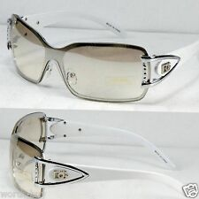 New DG Womens Rimless Sunglasses Shades Fashion Designer White Shield Retro Wrap