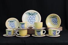 Vibrant Hand Painted Gibson 33 Piece Dinnerware Set Grape Motif