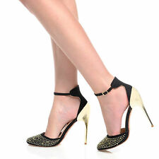 NEW WOMENS LADIES DIAMANTE POINTY TOE STRAPPY STILETTO HEEL SHOES SIZE 3-8