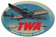 TWA Airlines   Vintage 1950's Style  Travel Decal Sticker Luggage Label