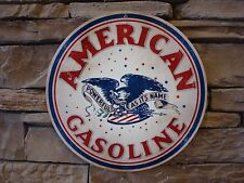 "American Gasoline Metal Sign 14"" Vintage Advertising Motor Oil Lubester Gas Pump"