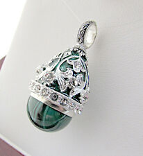 SUPERB RUSSIAN HANDMADE OF SOLID STERLING SILVER 925 PENDANT GENUINE MALACHITE