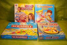 Lot, 4 jeux de société: triominos monopoly junior qui est-ce? scrabble junior