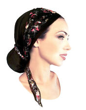 Black Head Scarf Tichel Hair Snood Chemo Hat Cap Pre tied Bandana Tichel - 119