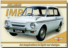 HILLMAN IMP SUPER ENAMELLED METAL SIGN.GARAGE SIGN.VINTAGE BRITISH MOTOR CAR.