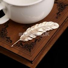 Lady Vintage Gold Tone Big Feather Leaf Shape Brooch Pin Costume Jewelry