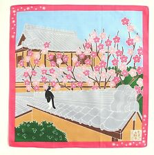Ume Apricot Flower with Cat Japanese Cotton Furoshiki Wrapping Cloth TB64