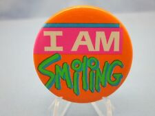"( COOL ) Vintage Humorous "" I AM SMILING "" Pinback, Comic Button, Funny Pin"