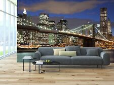 Brooklyn Bridge New York City at night Photo Wallpaper Decor Wall Background