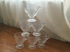 6 Vintage clear textured glass egg cups holders birds shape chicken