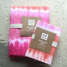New Pottery barn Teen Reef Tie Dye Duvet Cover Sham Twin Coral White pink 2pc