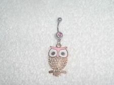 Pink Color Owl Charm Belly Button Navel Ring Body Jewelry Piercing