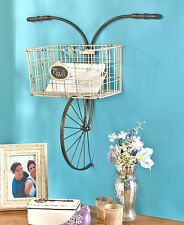 Wall Decor Metal Bicycle Basket Wall Mounted Indoor Outdoor Unique Art Storage