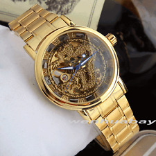 Luxury Men's Automatic Mechanical Wrist Watch Design Dial Dragon Stainless Steel