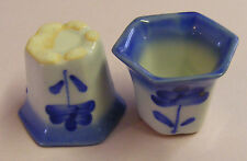 Single Blue & White Plant Pot Dolls House Miniature LH