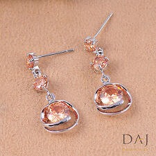 925 Sterling Silver Swarovski Element Champagne Stunning Earring Set 1126 CH 13