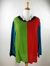 sz L 14 CAROLE LITTLE Tunic Red Green Teal 100% Silk Color Block Top Blouse