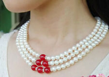 Fashion 3Rows Natural 7-8mm White akoya cultured pearl & Red Ruby Beads necklace