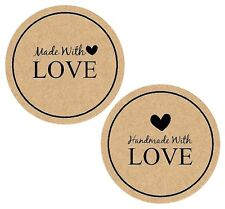 Kraft Made With Love Stickers x 12 *Craft* *Cards* *Weddings*