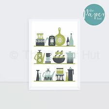 Kitchen | Art Print Green Turquoise Lime A3 | Scandinavian Retro Contemporary