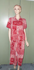 Women's L Vanilla and Country Red 2-pc outfit Capris & Button Down Shirt Summer