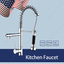 US 360° Swivel Chrome Kitchen Sink Faucet Pull Out Spray Mixer Tap Deck Mount