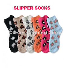 6 PAIRS WOMEN COZY FUZZY LEOPARD SUPER SOFT WINTER SLIPPER SOCKS GIRL 9-11 Lot