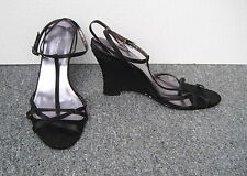 Dolcis Black Satin Effect Wedge Sandals with Sequin Covered Heels Size 6/39